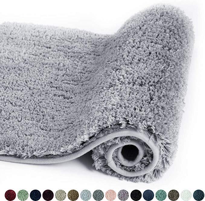 Amazon Com Walensee Bathroom Rug Non Slip Bath Mat For Bathroom 16 X 24 Grey Water Absorbent Soft Microfiber Sha Bathroom Rugs Washable Bath Rugs Plush Rug