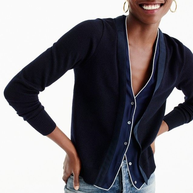 Harlow cardigan sweater with tipped-silk underlay | Women's ...