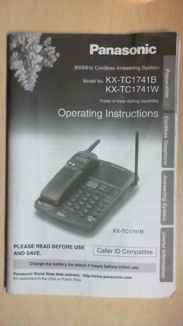 Panasonic Cordless Phone Operating Manual Quick Guide For Model Kx Tc17441b Bk16 Cordless Phone Cordless Telephone Caller Id