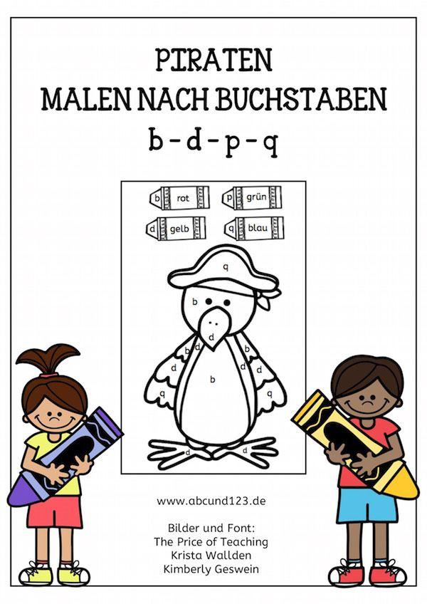 Piraten, Malen nach Buchstaben, b, d, p, q, Legasthenie, Dyskalkulie ...