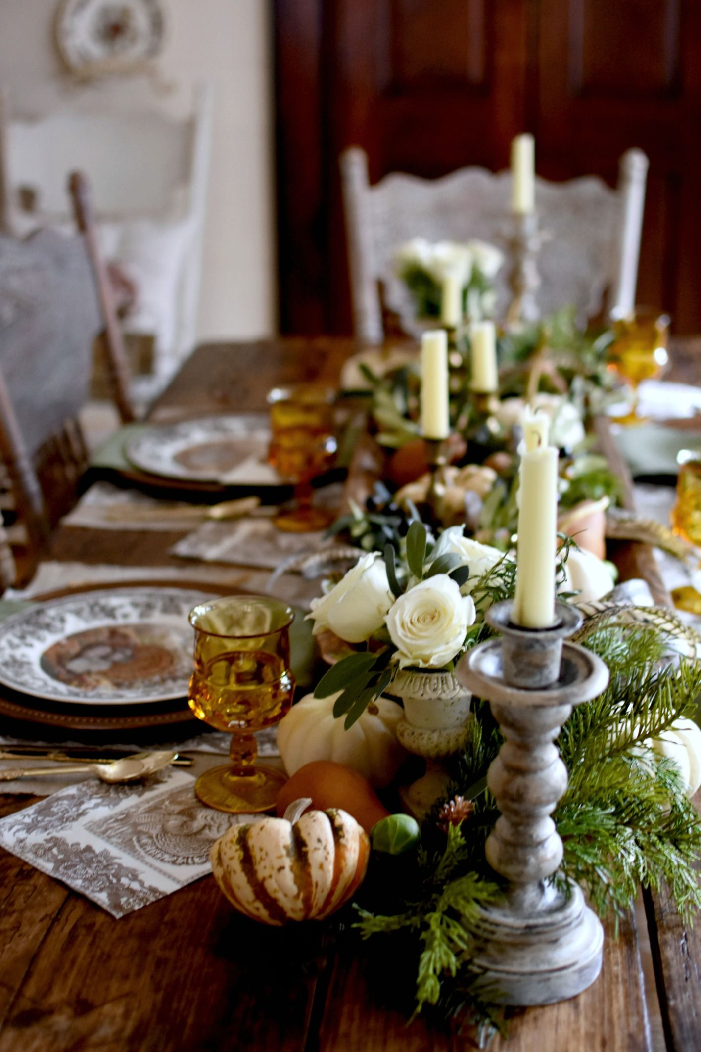 Beautiful French Country Thanksgiving Tablescape With Autumn Elegance In 2020 Thanksgiving Table Decorations Thanksgiving Table Settings Elegant Thanksgiving Tablescapes
