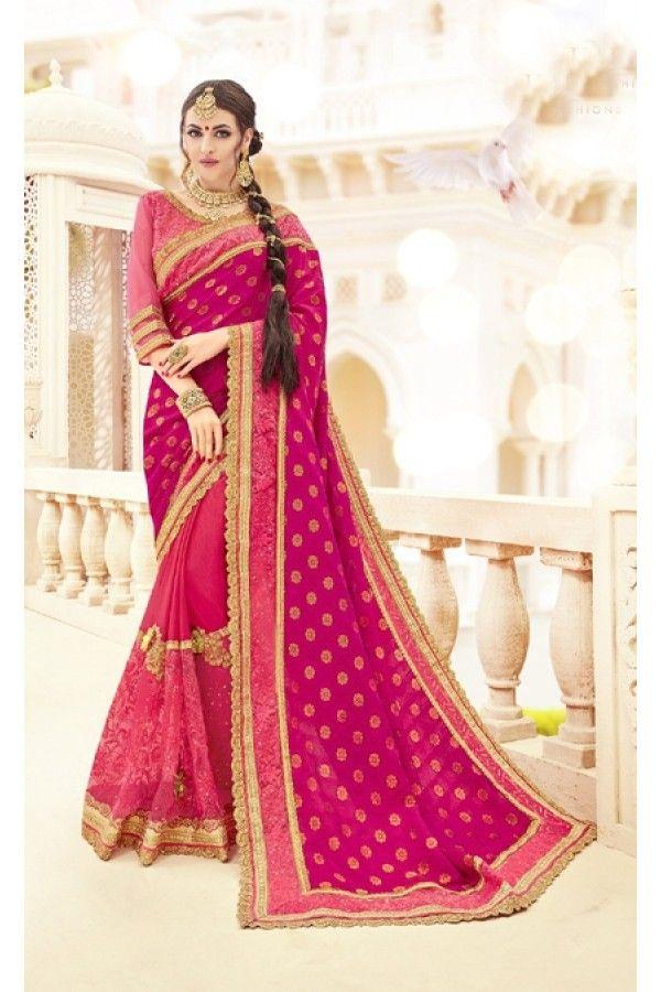 2d110d7852 Wedding Wear Light Pink Jacquard & Vichitra Silk Saree - 19998 Half Saree  Designs, Saree