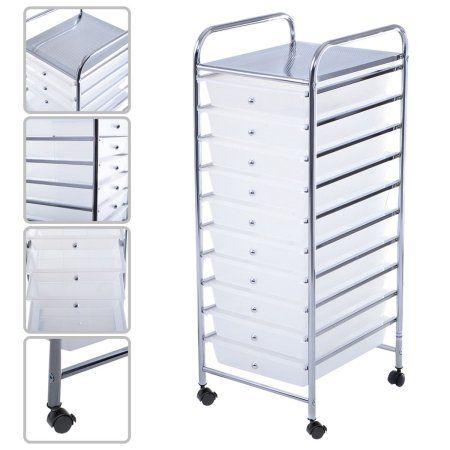 Free Shipping Buy Costway 10 Drawer Rolling Storage Cart Scrapbook