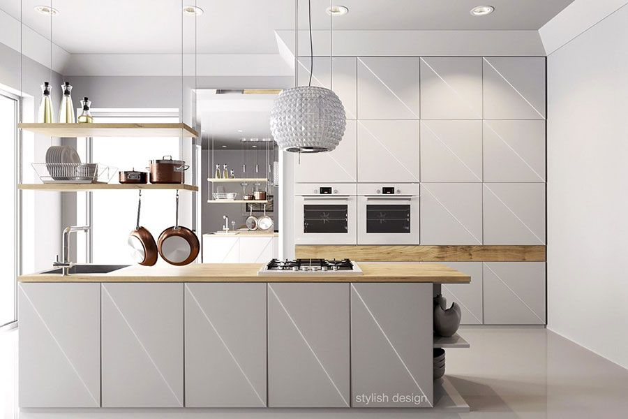 Modello di cucina bianca e legno moderna n.08 | Cucina | Pinterest ...