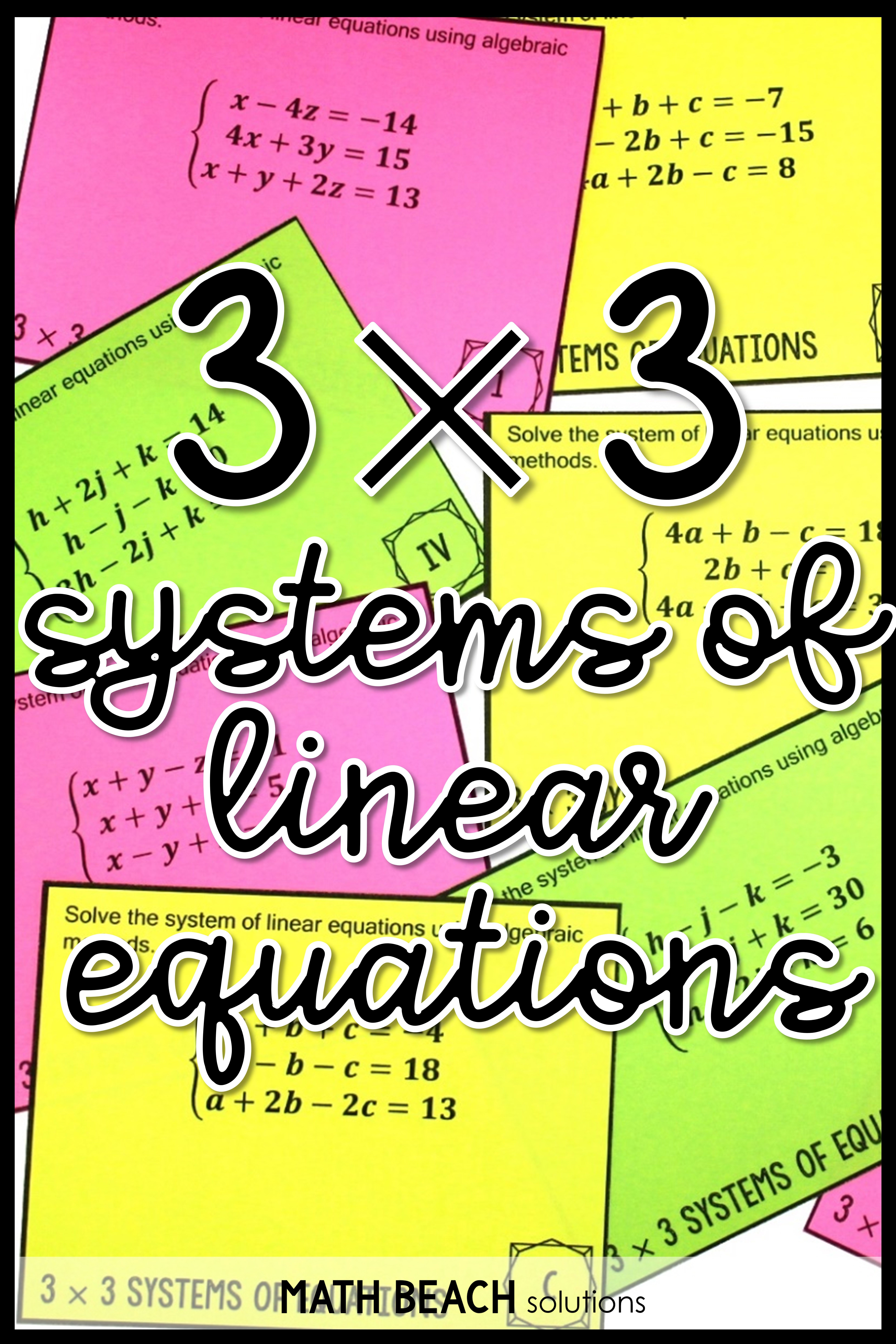 3x3 Systems Of Equations Task Card Activity