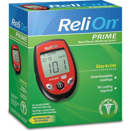 Relion Prime Blood Glucose Monitoring System, Red | Blood glucose ...