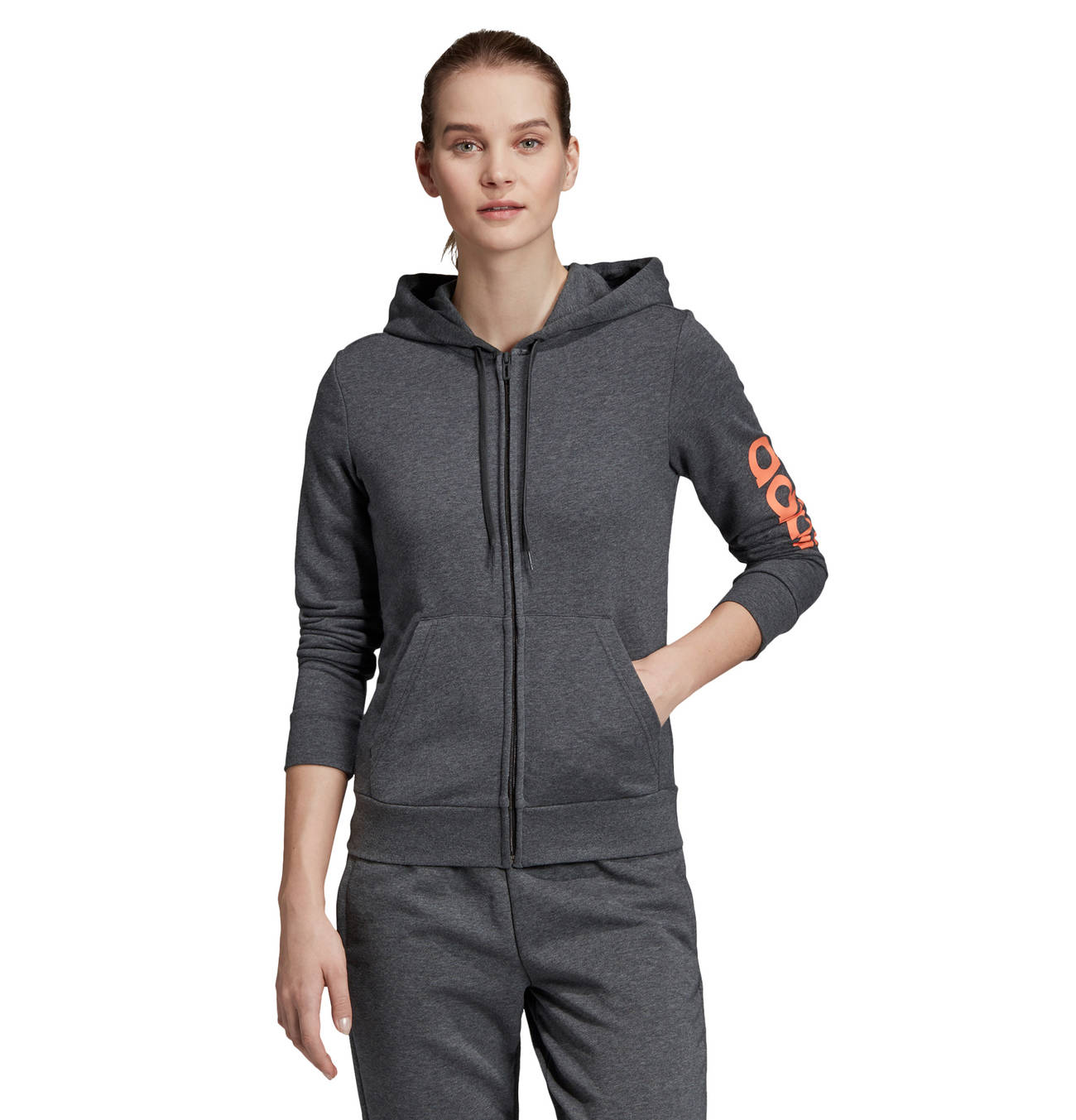 Adidas Damen Essentials Linear Kapuzenjacke Sweatjacke