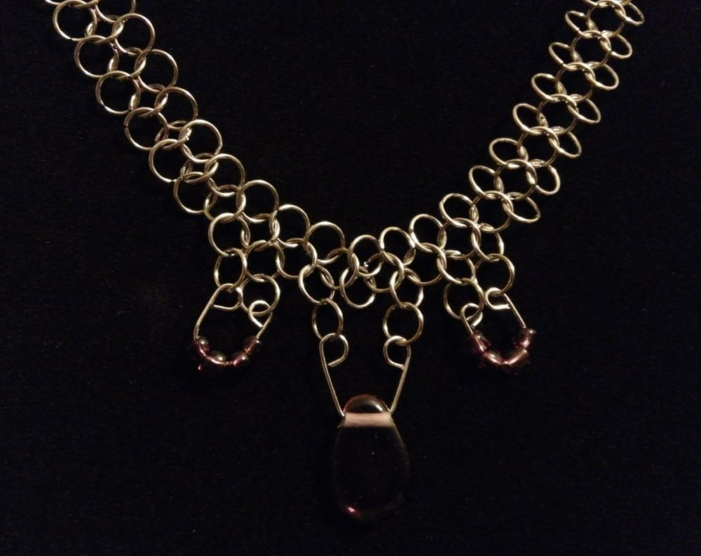Teardrop pendant chainmaille chain mail necklace and earring set