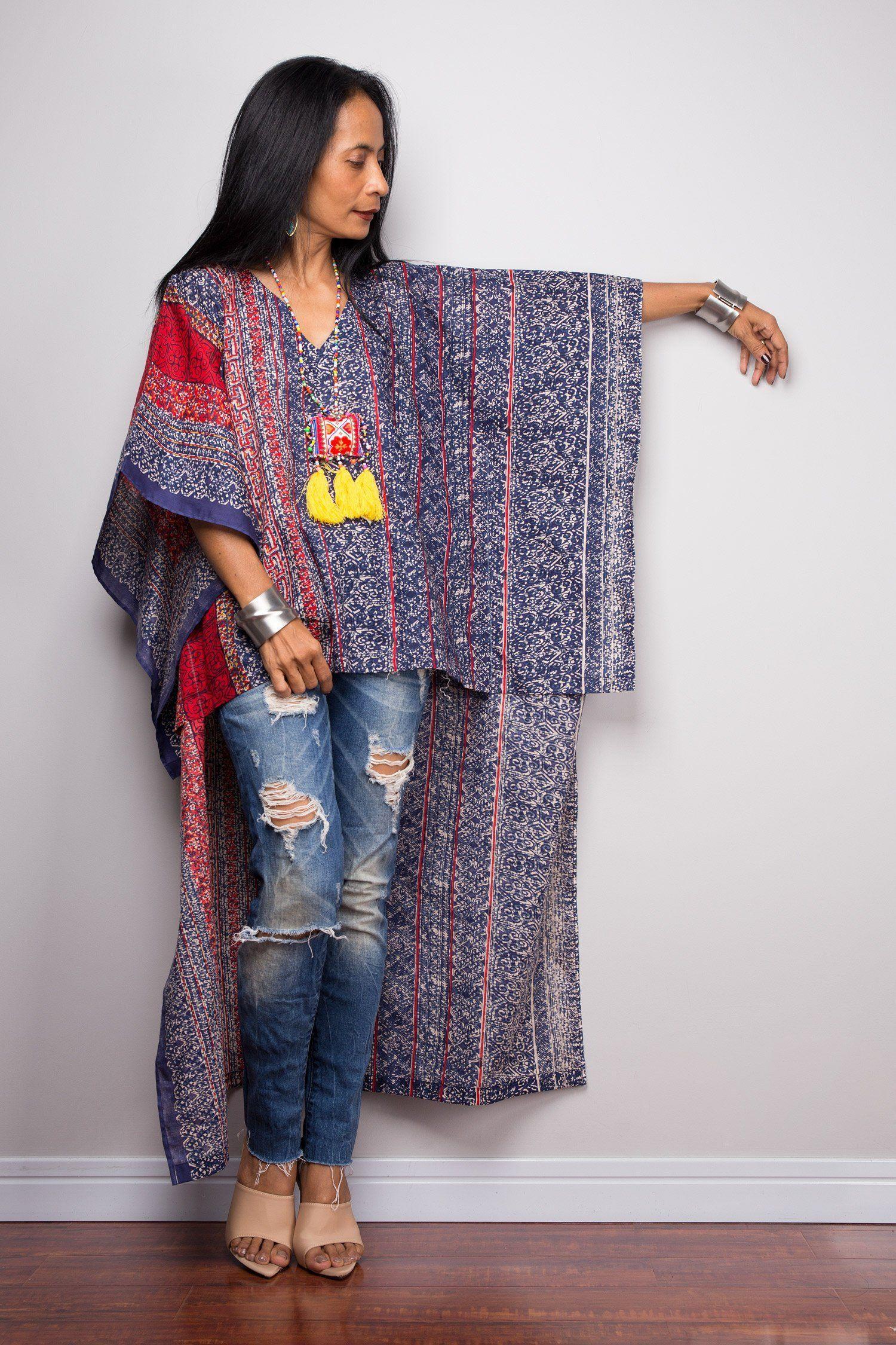 af1cdea992 Boho Kaftan top | Cotton Tunic top | beachwear tunic | Short front poncho top  dress