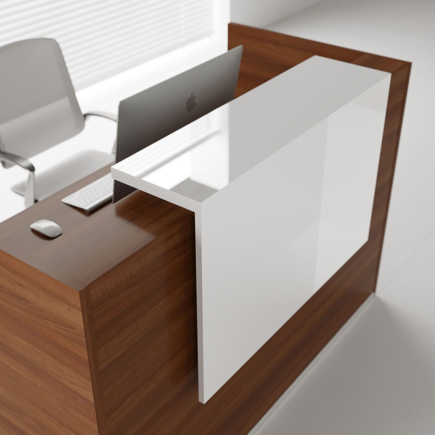 Tera L Shaped Reception Desk W Light Panel Modern Reception Desk