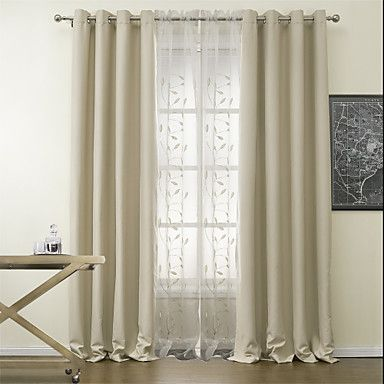 Curtains Ideas blackout drapes and curtains : Two Panels Solid Spotless Blackout Curtains Drapes with Sheer Set ...