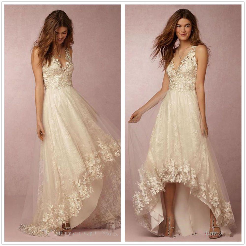 boho beach wedding dresses a line v neck high low sleveless