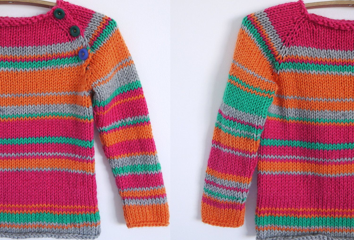 Girls Knitted Sweater Blocks And Stripes Jumper Fits 3 5 Year