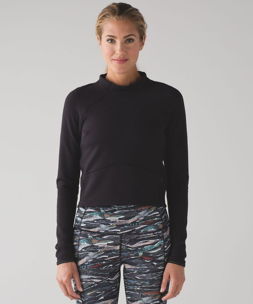 84c73cd9ea LULULEMON Hill and Valley Mock Neck Crop Top Shirt Run Yoga Fitness Size 4 # Lululemon #AthleticTops