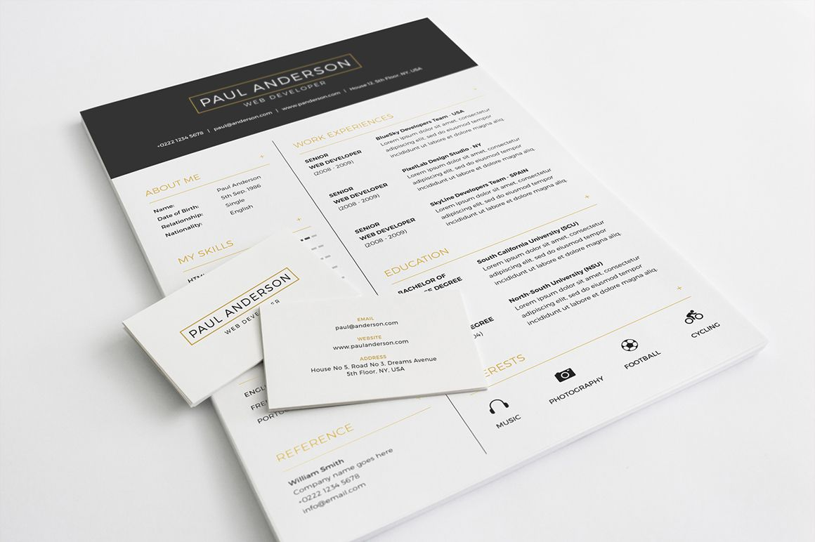 Free Resume Template With Business Card In Psd Format  Freebies