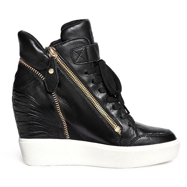 Ash 'Alfa' embossed ribcage leather wedge sneakers featuring polyvore,  fashion, shoes,