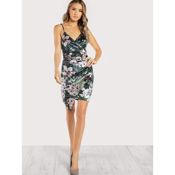 71b4304890 SheIn(sheinside) Ruched Overlap Floral Velvet Dress ($14) ❤ liked on Polyvore  featuring dresses, multicolor, short wrap dress, sleeveless sheath dress,  ...