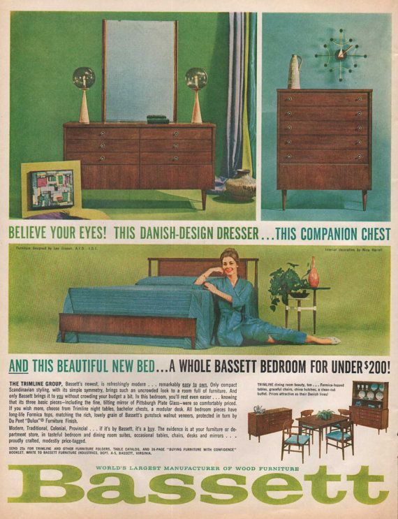 1960u0027s Bassett Furniture Ad Trimline Group By SkippiDiddlePaper