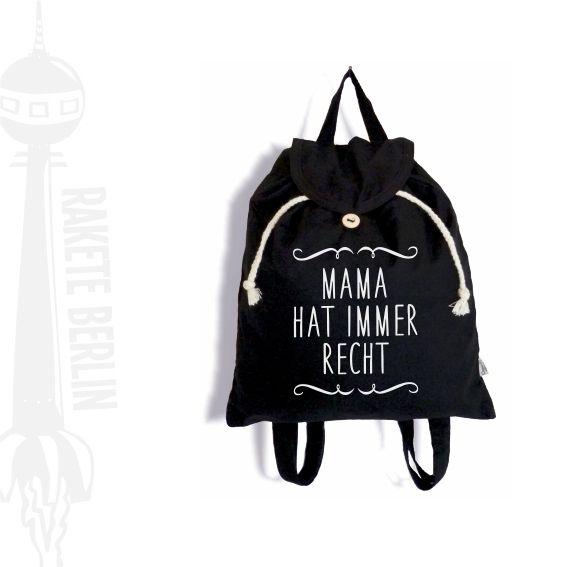 Rucksäcke - Jute-Rucksack 'Mama hat immer Recht' - ein Designerstück von RaketeBerlin bei DaWanda