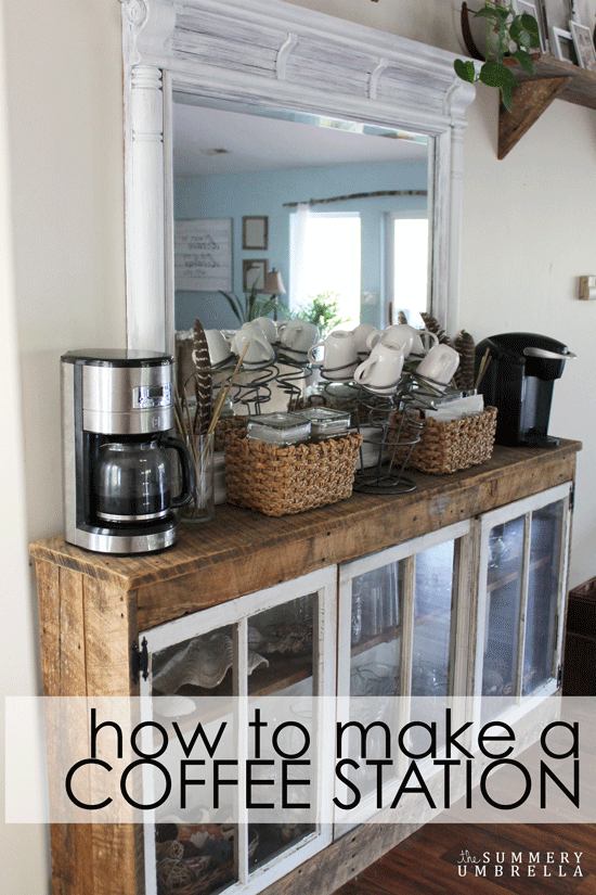 How To Make A Coffee Station Out Of A Dresser Mirror Coffee Bar Home Home Coffee Stations