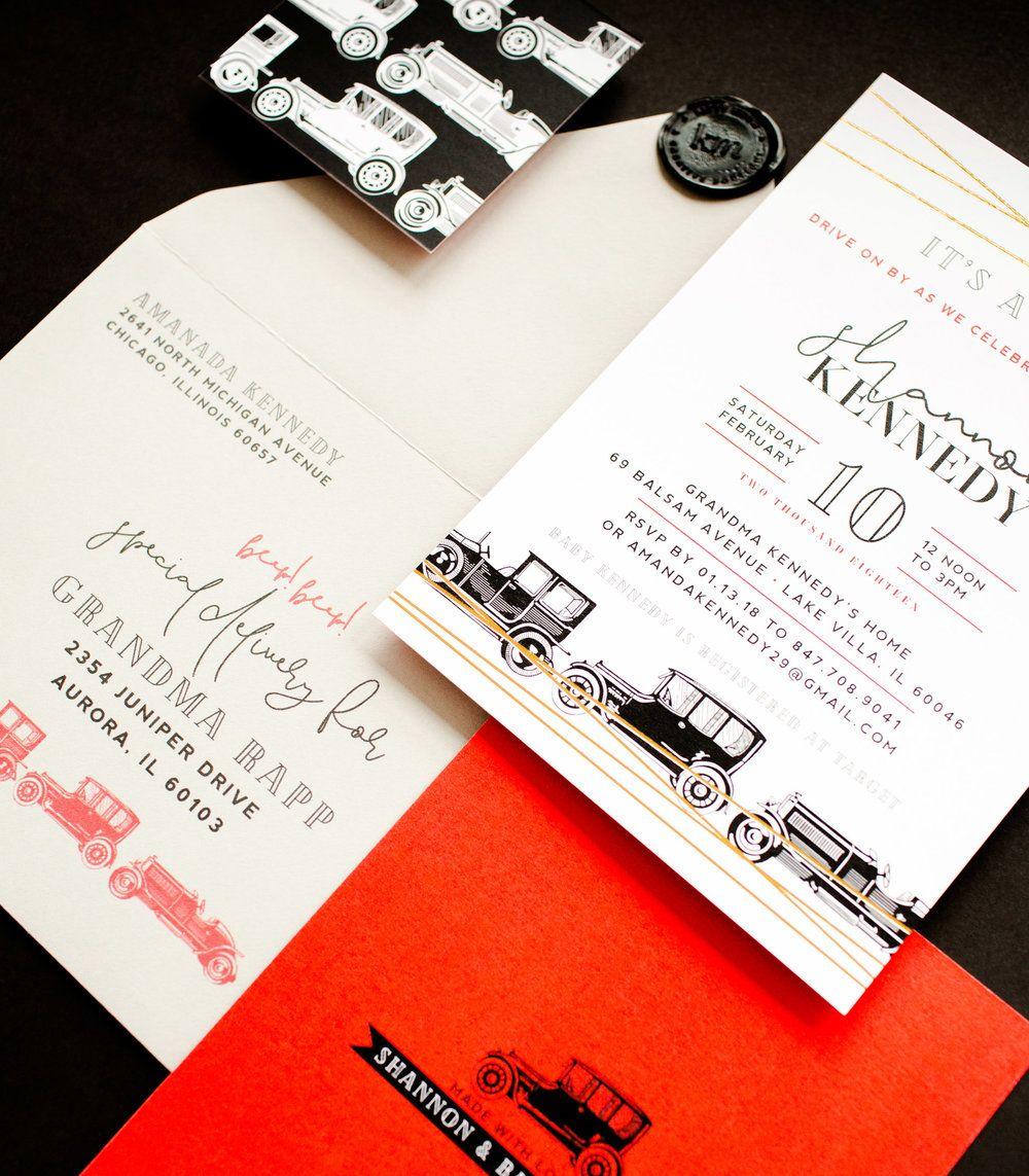 Black & White, Vintage Cars Baby Shower Invitation for Little Baby ...