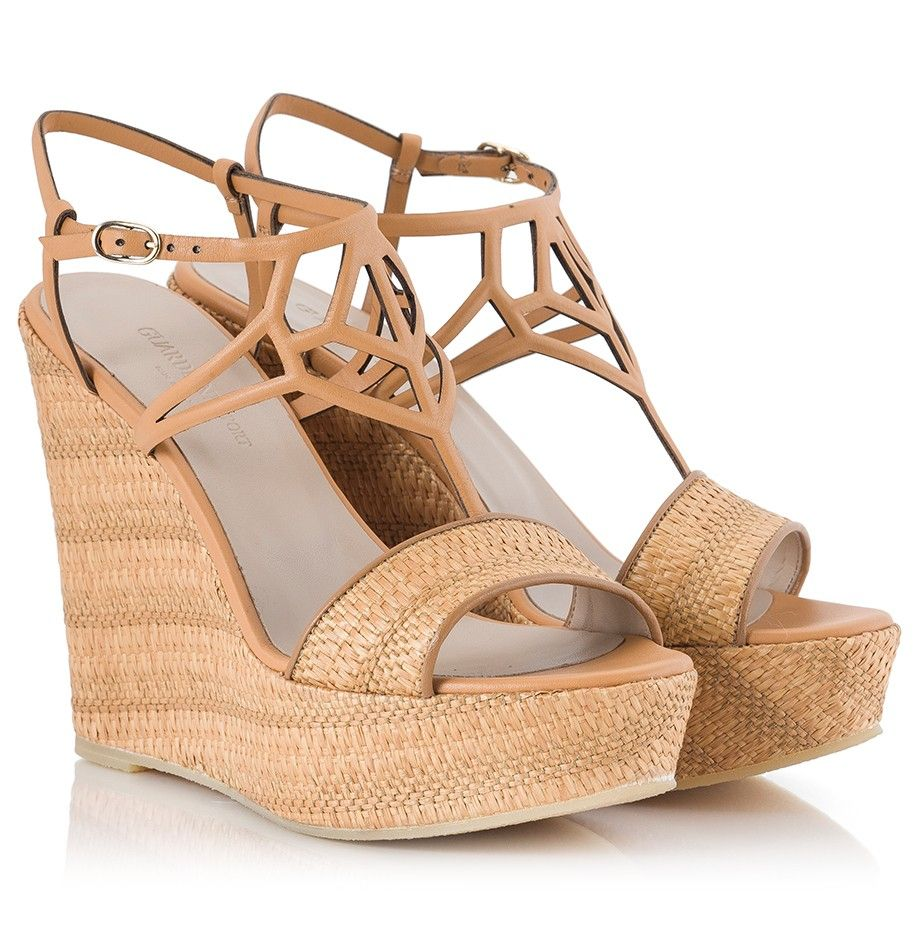 22f5af1522c3db Alberto Guardiani BETTA Camel leather strap and braided raffia wedge  sandals  AlbertoGuardiani  SummerWedges  Raffia