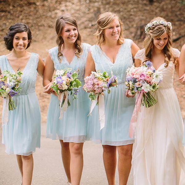 d2363571f23de Summer Short Cheap Mismatched Sleeveless V-neck One Shoulder Lace Chiffon  Pleated Light Blue Bridesmaid Dresses, AB1161