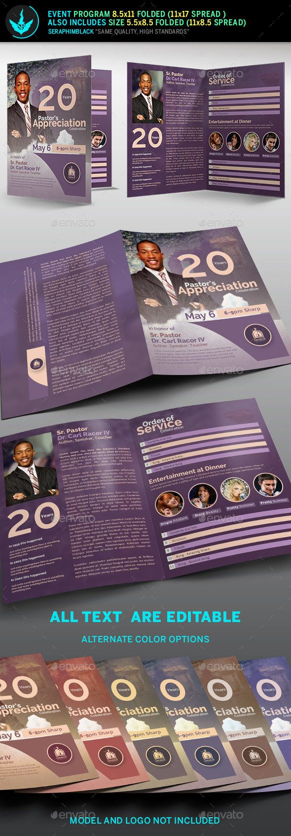 modern pastors appreciation program template 2 pinterest program