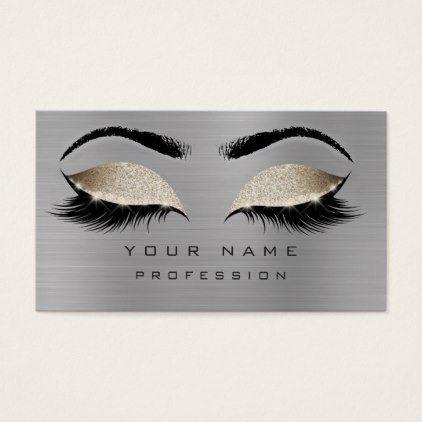 Photo of Makeup Eyebrow Eyelash Glitter Gray Beige Gold Business Card | Zazzle – Make …
