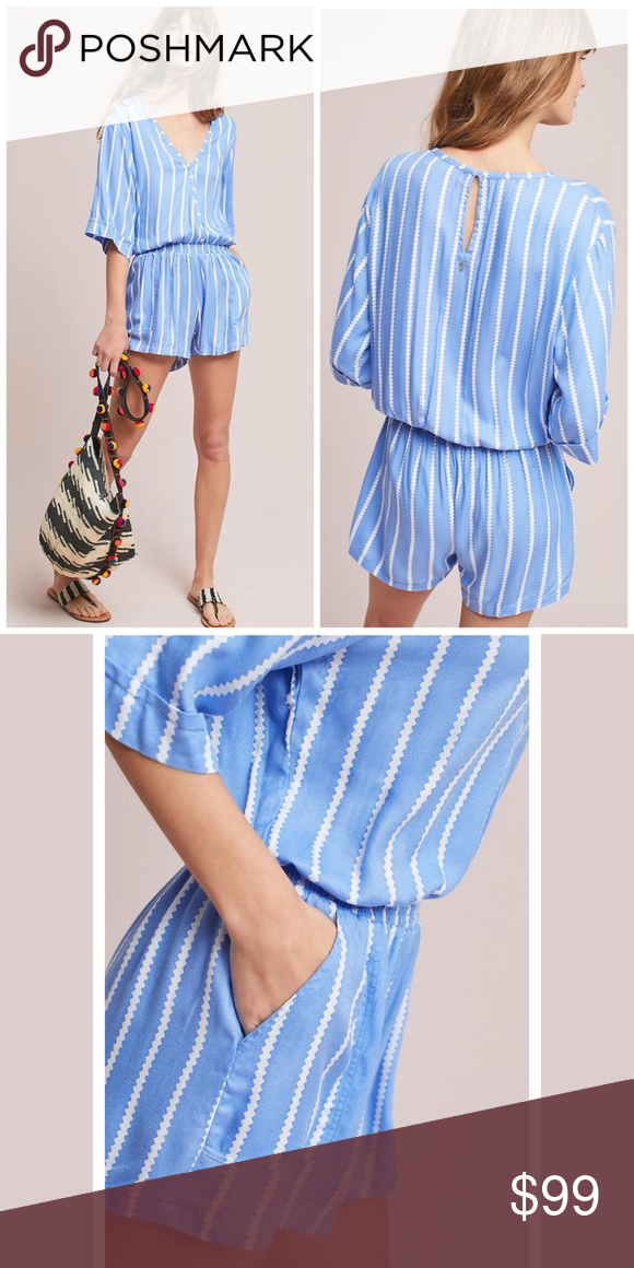 50fc7d11851 Anthro Beachgold Ancona Striped Romper Blue White NWT