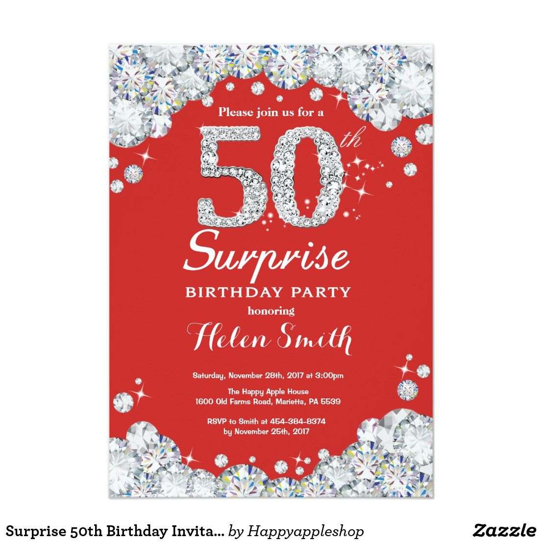 Surprise 50th Birthday Invitation Silver Diamond   Birthday ...