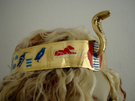 2eeeab8065a Egyptian Queen Cleopatra Cobra Brass Crown Headband Halloween Costume
