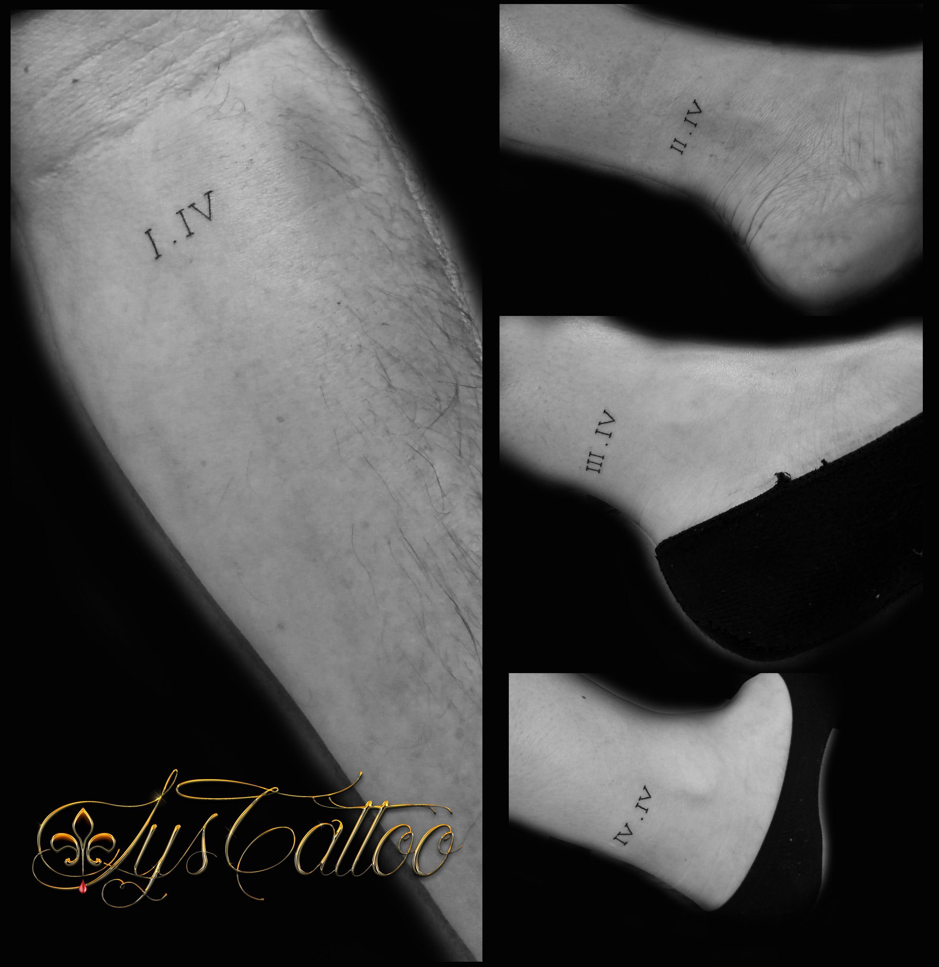 tatouage en commun de famille chiffres romains tatouage. Black Bedroom Furniture Sets. Home Design Ideas