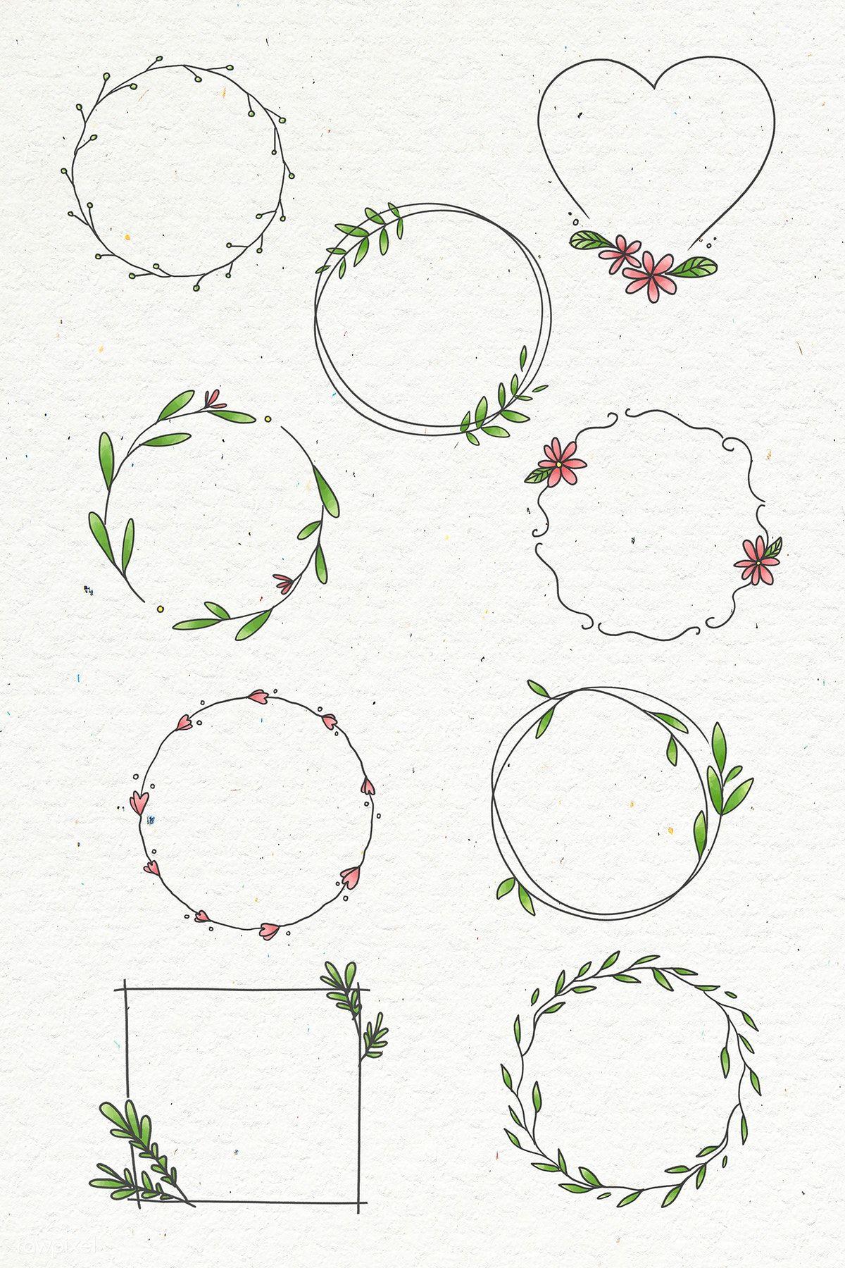 Photo of Laden Sie die Premium-Illustration des Doodle-Blumenkranzes auf Beige herunter