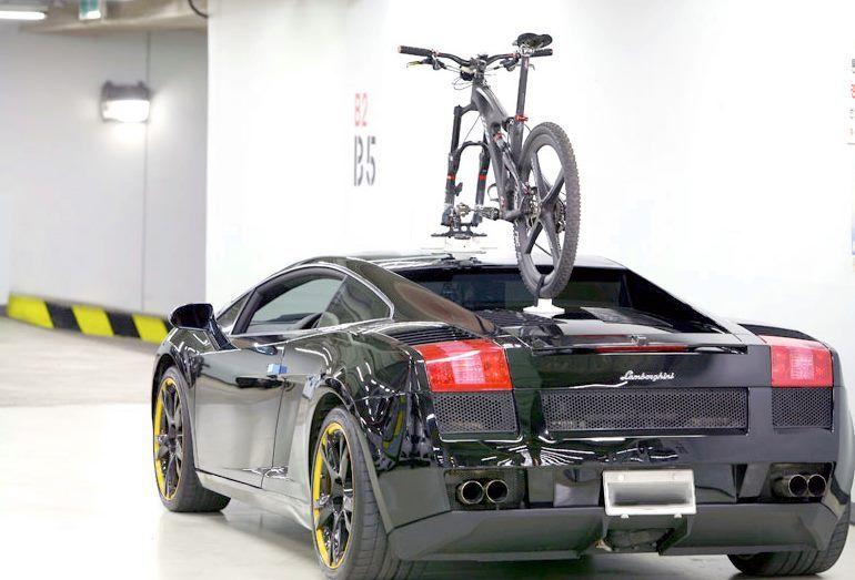 Rear View Shot Of A Talon Bike Rack Fitted To A Lamborghini