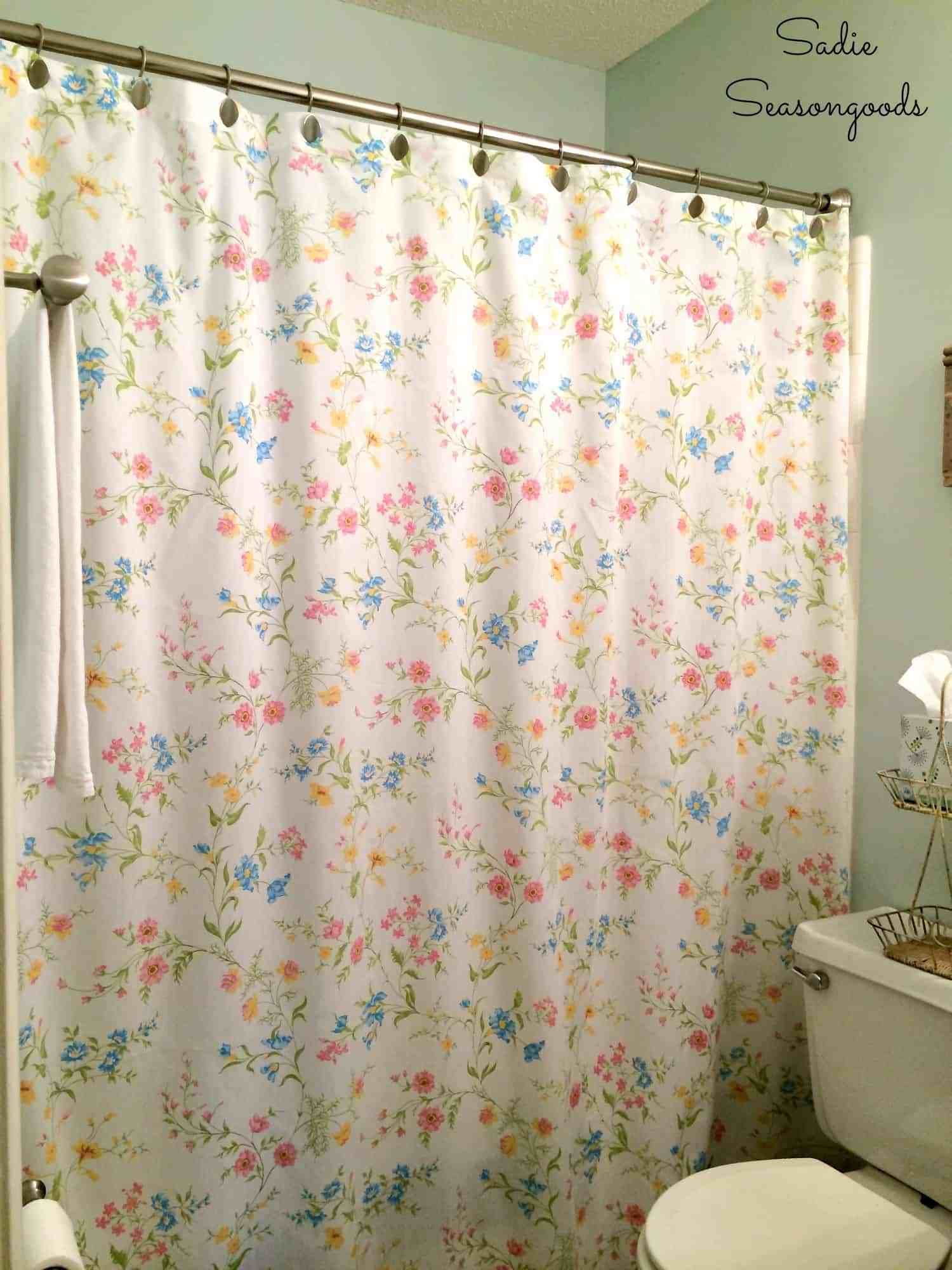 Diy Shower Curtain From A Repurposed Vintage Bed Sheet Misc