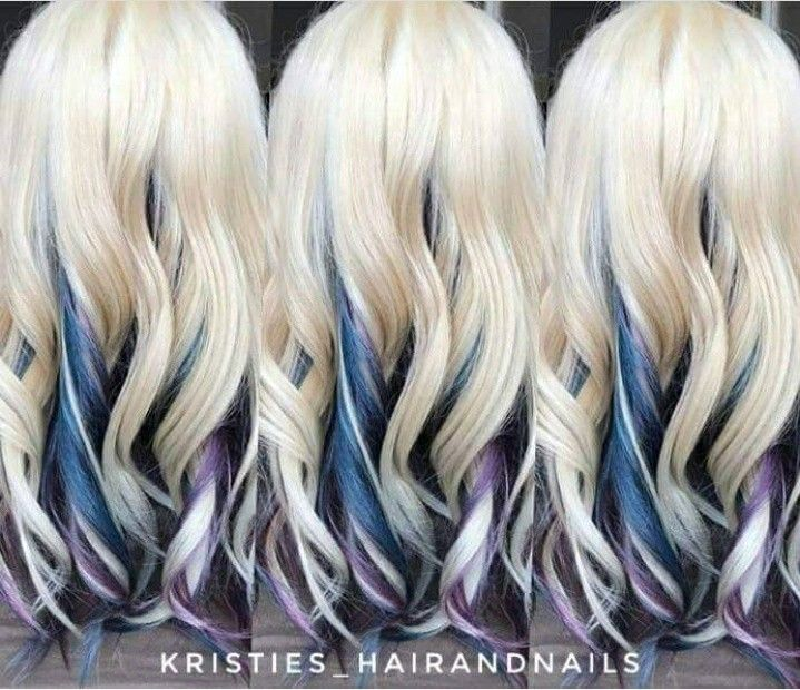 Blue And Purple Hidden Unicorn Hair Platinum Blonde Hair