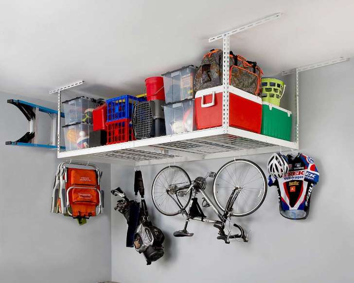 Saferacks Overhead Garage Rack And Accessory Kit Costco Garage Storage Racks Garage Ceiling Storage Overhead Garage Storage