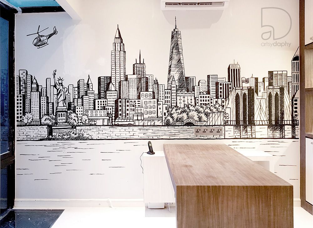 New York City Wall Painting In Home Office Office Mural Architecture Design Sketch City Office