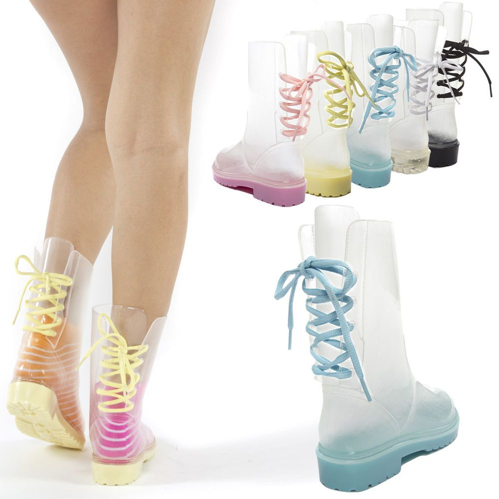 Women Clear Lace Up Transparent Rubber Mid Calf Ankle Low Heel Flat Rain  Boot US