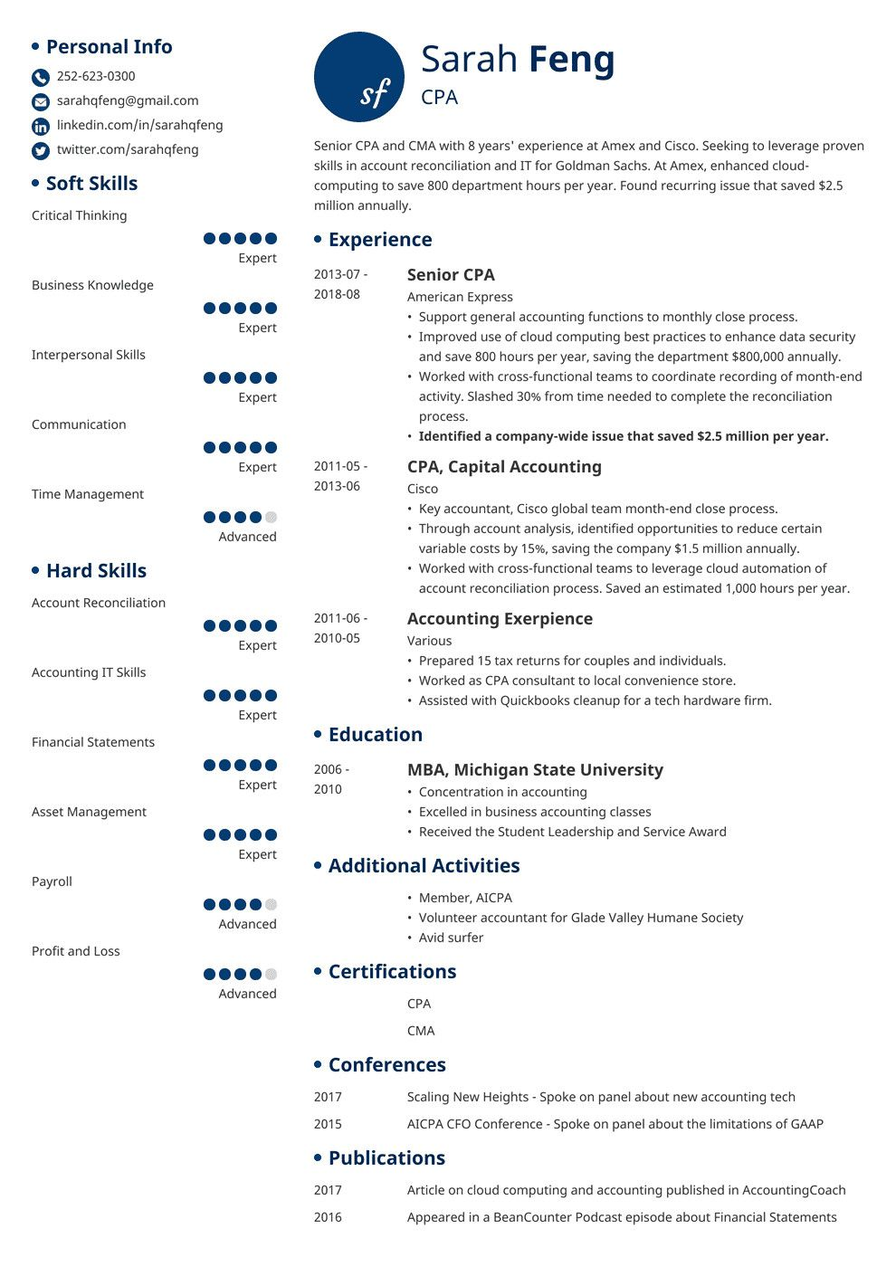 32 Elegant Accounting Resume Examples 2017 in 2020