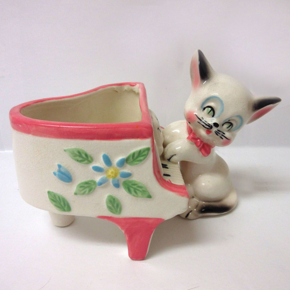 Shafford Japan Porcelain Mini Planter Rare Mid-Century Cat Playing Piano 1950's Signed #Shafford