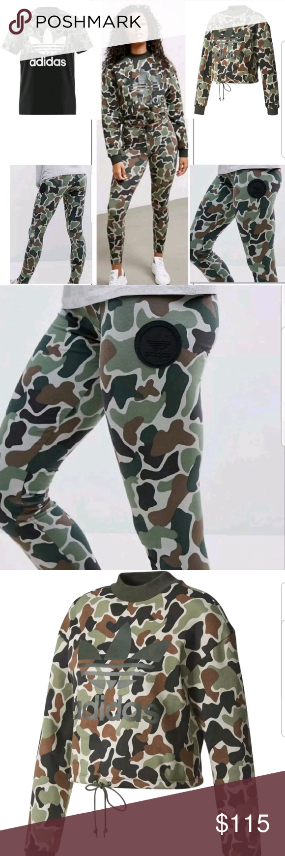 Adidas Originals Bundle Of 3 Camouflage Outfits With Leggings Crewneck Outfit Womens Sweatshirts Fashion [ 1740 x 580 Pixel ]