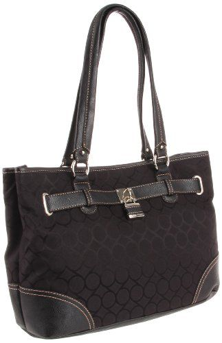Nine West 9s Jacquard Shopper Satchel Handbag in Black - http://www.