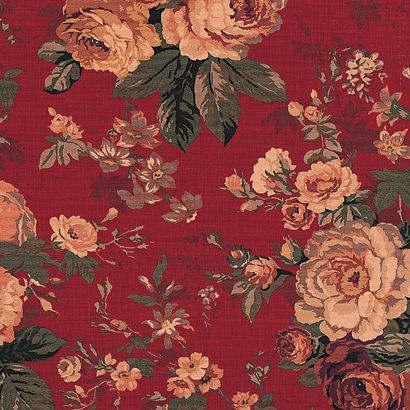 Canvas Heavy Upholstery Fabric Antique Rose Floral Red Floral Sofa