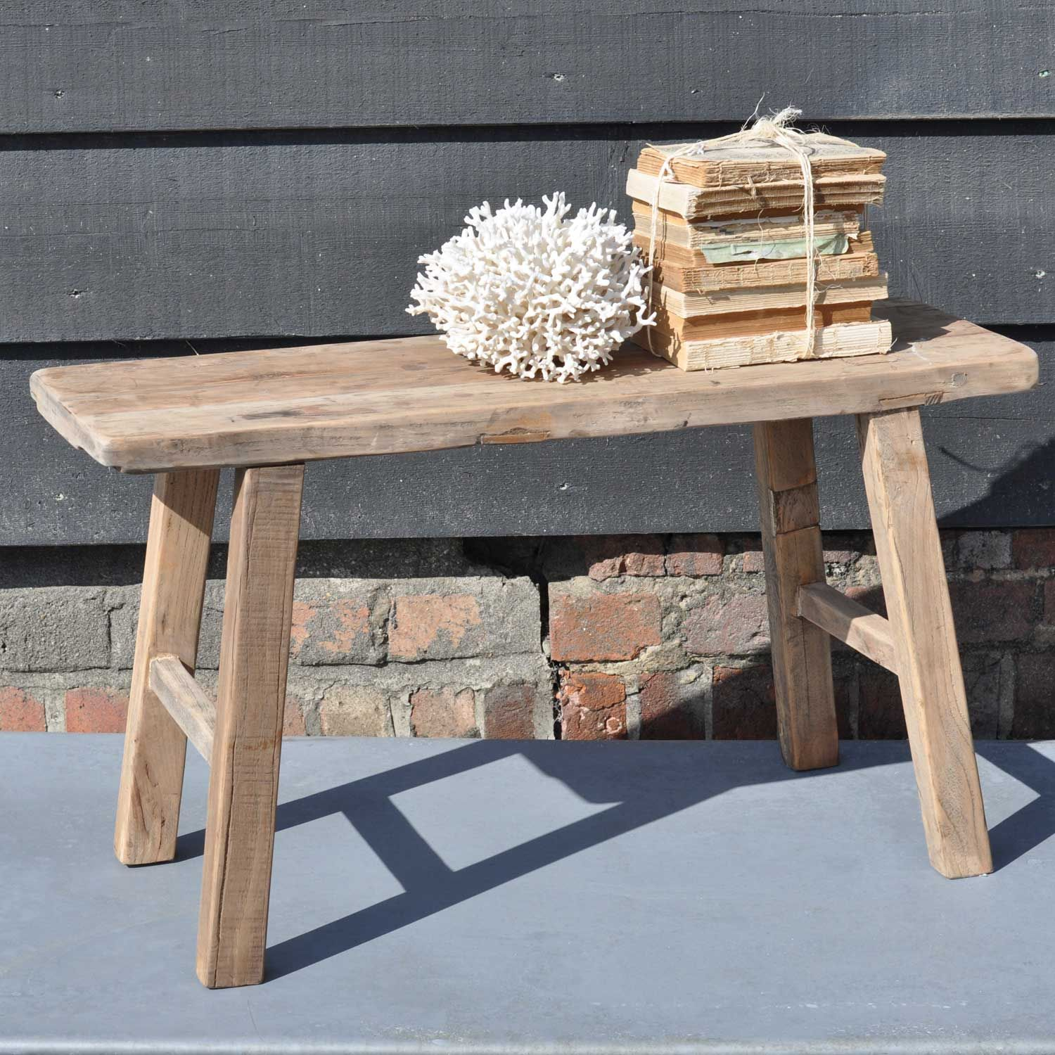 Reclaimed Small Rustic Trestle Bench In Solid Elm Shop Home Barn S Collection Of Vintage Antique And Rustic Wooden Bench Rustic Wood Bench Wooden Bench Seat