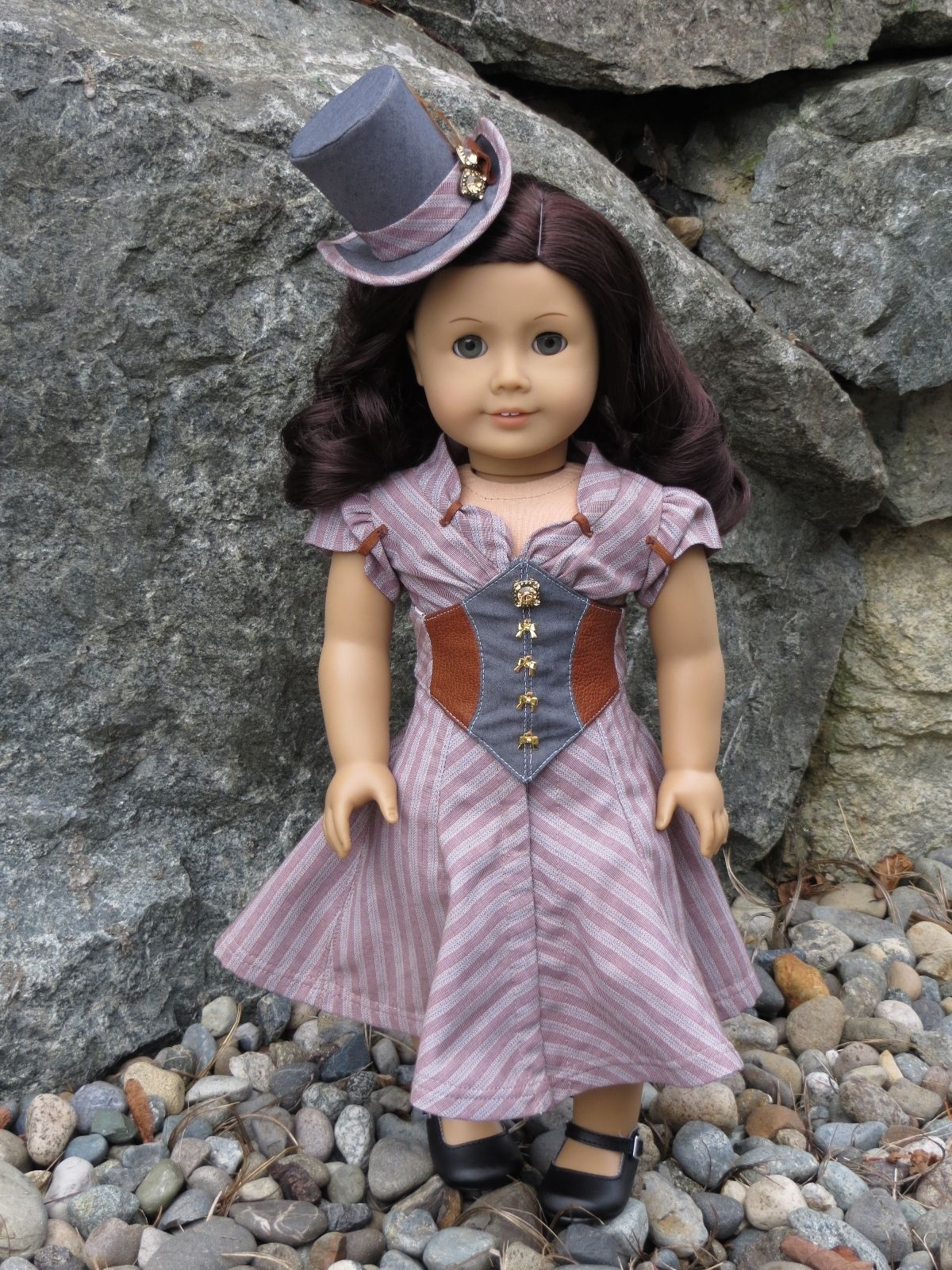 "Melody Valerie ""Dianne"" Steampunk Outfit for 18"" American Girl Doll Dress Corset 