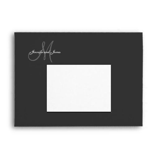 Monogram Black Wedding Invitation Envelopes