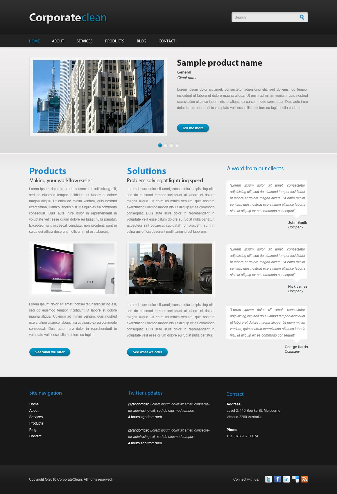 Corporate Clean For Drupal By More Than Just Themes Is Based On The Homonymous Psd Template Which Was Designed And Published Drupal Psd Templates Web Design