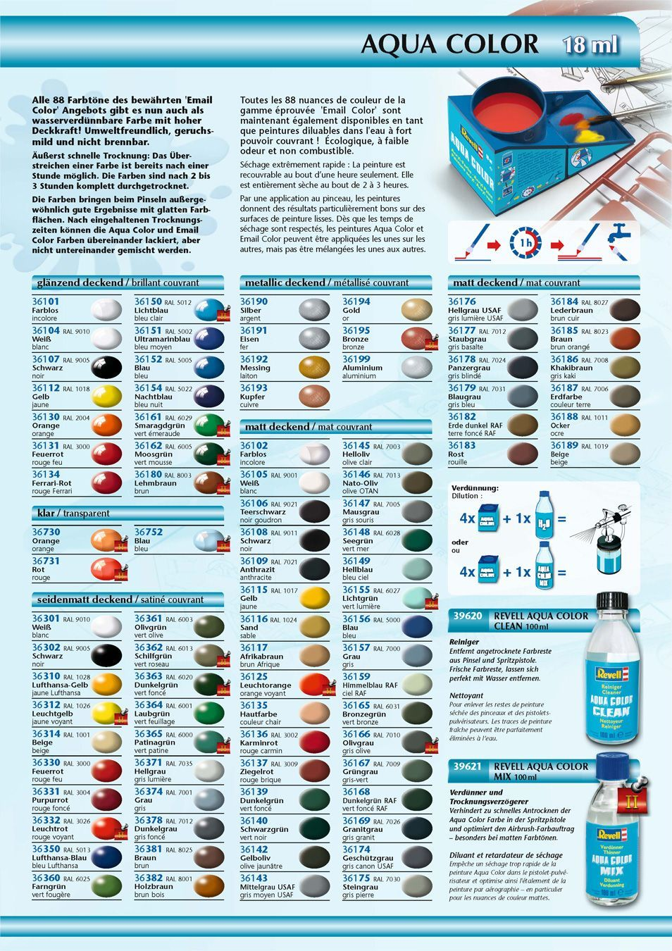 Revell Colors Table Humbrol Revell Tamiya Federal Ral